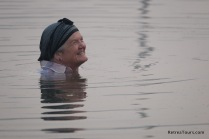 Rose is very happy in the River Bain in India