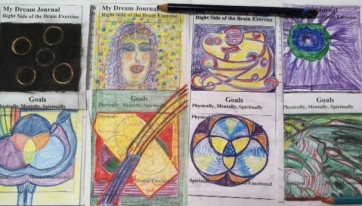 Right side of brain exercises does with color pencils and charcoal on far left.