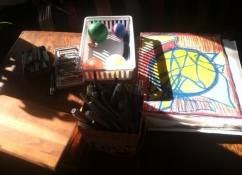 My little table with the art supplies.