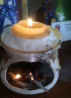 Burning white sage