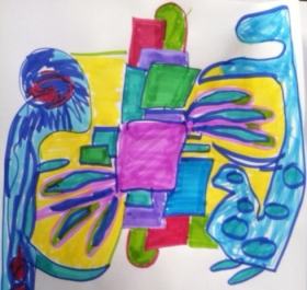 This drawing goes with first dream below - pretty abstract with the purple square in the middle representing the child.