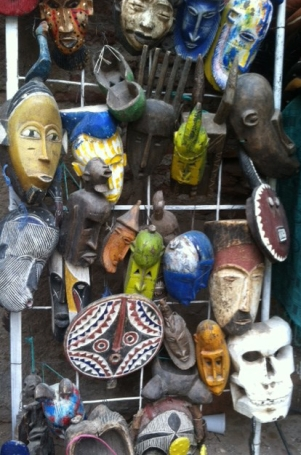 Masks are often created to see the masks we wear. These masks were for sale in Marrakech.